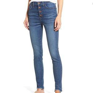 "Madewell 10"" High Riser Skinny Chewed Hem Jeans"